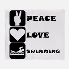 Peace Love Swimming Throw Blanket