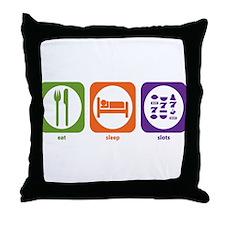 Eat Sleep Slots Throw Pillow