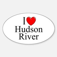 """""""I Love Hudson River"""" Oval Decal"""