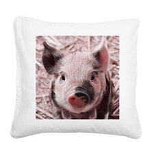 sweet piglet, pink Square Canvas Pillow