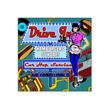 "AT-THE-DRIVE-IN-temp_shower Square Sticker 3"" x 3"""