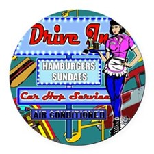 AT-THE-DRIVE-IN-temp_shower_curta Round Car Magnet