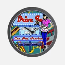 AT-THE-DRIVE-IN-temp_shower_curtain Wall Clock