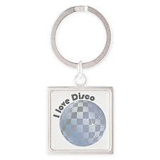 I love Disco Square Keychain