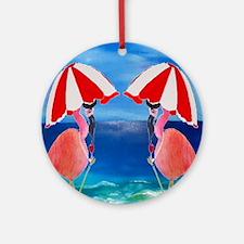 Flamingo Beach Wine Round Ornament