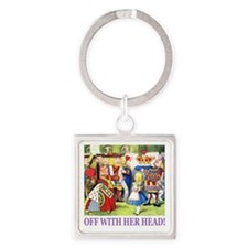 ALICE_OFF WITH HEAD_PURPLE Square Keychain