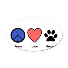 peaceloverescueshirtedit Oval Car Magnet