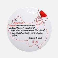 Red Thread on White Round Ornament