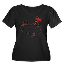 Red Thre Women's Plus Size Dark Scoop Neck T-Shirt