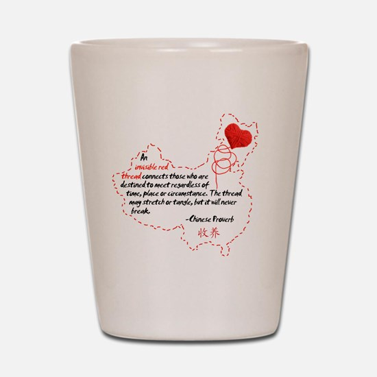Red Thread on White Shot Glass