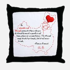 Red Thread on White Throw Pillow
