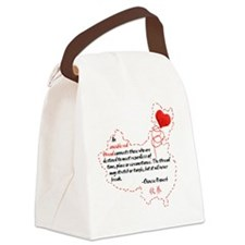 Red Thread on White Canvas Lunch Bag