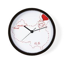 Red Thread on Black Wall Clock
