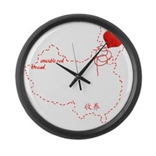Red Thread on Black Large Wall Clock