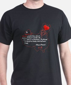 Red Thread on Black T-Shirt