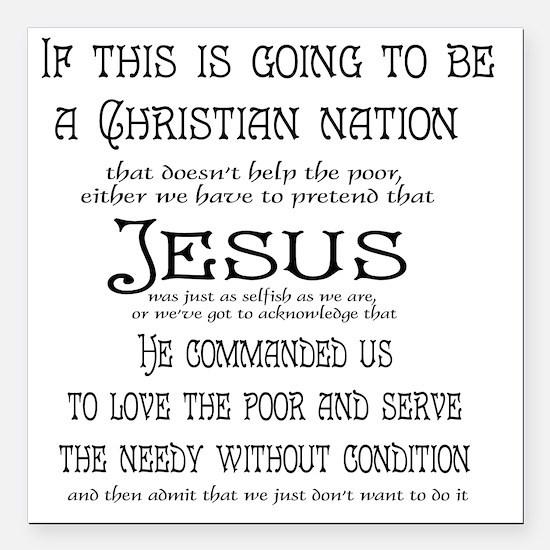 "Christian Nation Square Car Magnet 3"" x 3"""