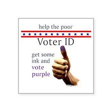 """Vote Purple for a Vote ID t Square Sticker 3"""" x 3"""""""