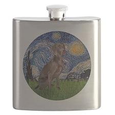R-Starry-Weimaraner Flask