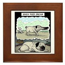 When Pugs dream Framed Tile