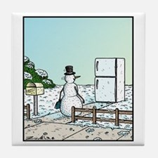 Frosty the Snowman arriving Home to h Tile Coaster