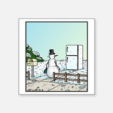 """Frosty the Snowman arriving Square Sticker 3"""" x 3"""""""