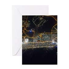 Dubai At Night From Space Greeting Card