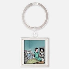 Bun in the Oven Ultrasound Square Keychain