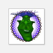 "GreenGuy02Blk Square Sticker 3"" x 3"""