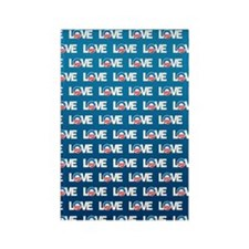LOVE Obama Pattern Rectangle Magnet
