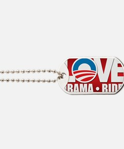 LOVE Obama Red Background Dog Tags
