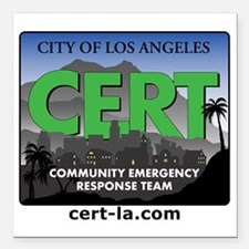 """CERT-rectangle-logo-with Square Car Magnet 3"""" x 3"""""""