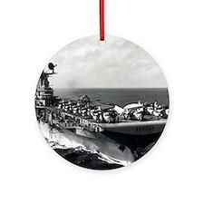 kearsarge cvs framed panel print Round Ornament
