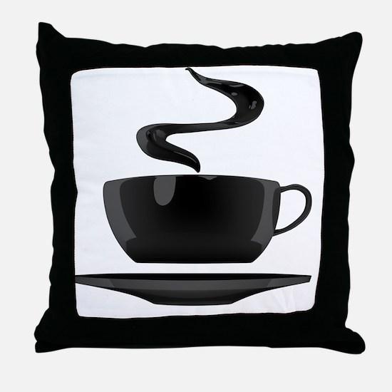 BlackCoffeeTshirt Throw Pillow