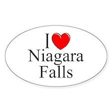 """""""I Love Niagara Falls"""" Oval Decal"""