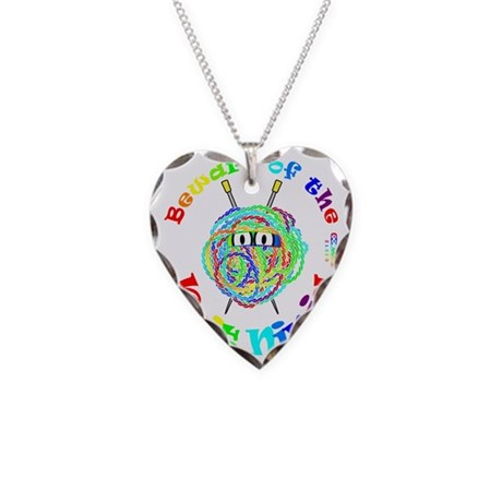 Beware of the Knit Ninja Necklace Heart Charm