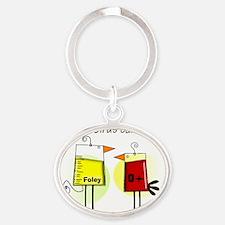 Nurse foley blood bag birds Oval Keychain