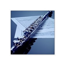 "Flute on sheet music, close Square Sticker 3"" x 3"""