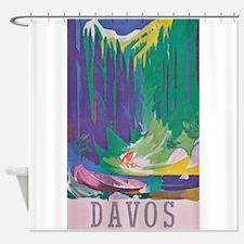Davos, Switzerland Vintage Travel Poster Shower Cu