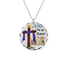 Jesus He is Risen! Necklace Circle Charm