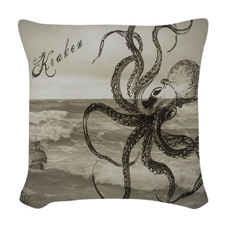 The Kraken Woven Throw Pillow