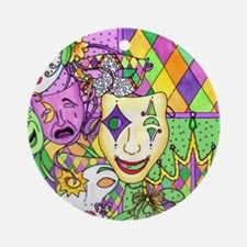 Mardi Gras Masks Flip Flops Round Ornament