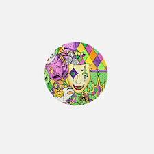Mardi Gras Masks Flip Flops Mini Button