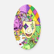 Mardi Gras Masks Flip Flops Oval Car Magnet