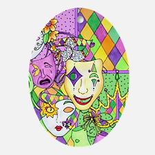 Mardi Gras Masks Flip Flops Oval Ornament