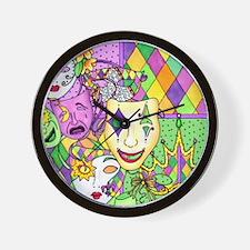Mardi Gras Masks Flip Flops Wall Clock