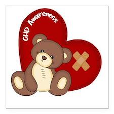 """Congenital Heart Defect  Square Car Magnet 3"""" x 3"""""""