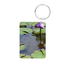 purple lily card Aluminum Photo Keychain