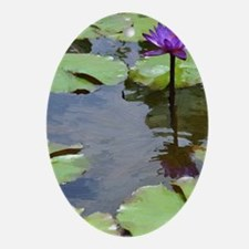 purple lily card Oval Ornament
