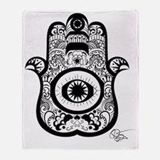 Hamsa Black Throw Blanket
