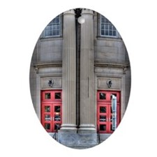 Two red front doors Oval Ornament